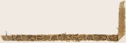 Textile fragment with leaves, carnations, and round flower-headsfront