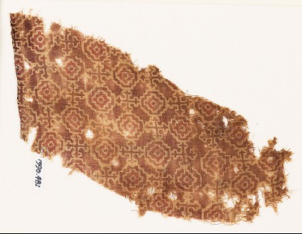 Textile fragment with stepped squares, linked by Maltese crossesfront