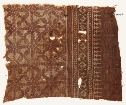 Textile fragment with interlocking spirals or rosettesfront