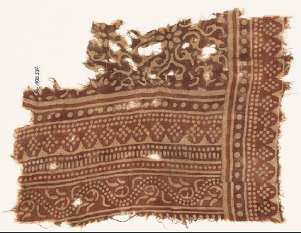 Textile fragment with bands of dotted patterns, vine, rosettes, and tendrilsfront