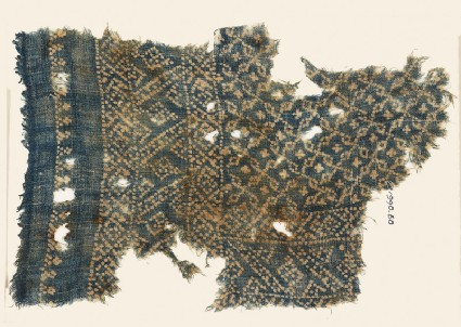 Textile fragment with rosettes and linked S-shapes made of dotsfront