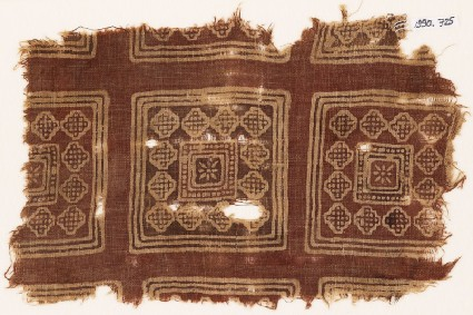 Textile fragment possibly imitating patola pattern, with squares, rosettes, and diamond-shapesfront