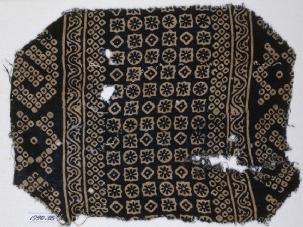 Textile fragment with diamond-shapes, squares, circles, and bandhani, or tie-dye, imitationfront