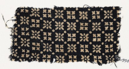 Textile fragment with rosettes, squares, and dotsfront
