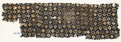 Textile fragment with rosettes, dots, and lobed squaresfront