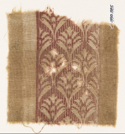 Textile fragment with palmettes and scrollsfront