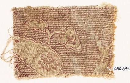 Textile fragment with leaves and stripesfront