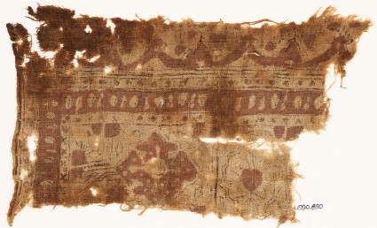 Textile fragment with medallions and archesfront