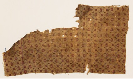 Textile fragment with grid of flowersfront