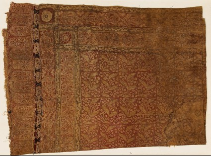 Cloth with flower sprigs and probably Arabic scriptfront