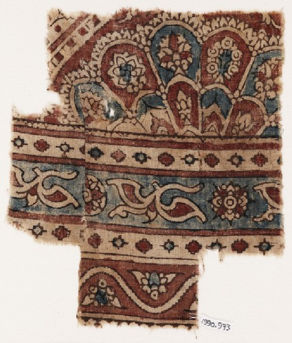 Textile fragment with elaborate semi-rosette and petalsfront