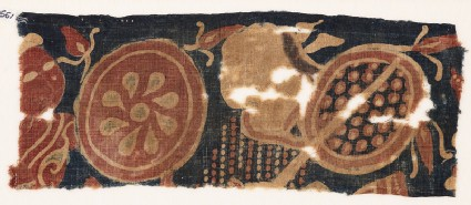 Textile fragment with two warriorsfront