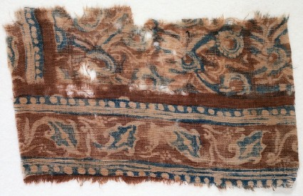 Textile fragment with leaves and linked flowersfront
