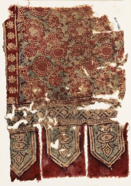 Textile fragment with circles, flowers, and tabsfront