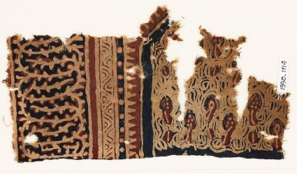 Textile fragment with plants and an interlacing vinefront