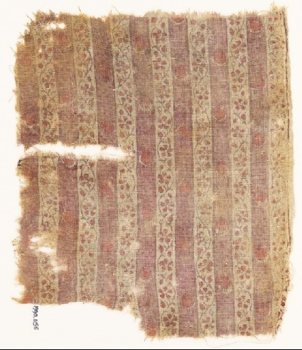 Textile fragment with bands of vines and flowersfront