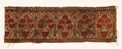 Textile fragment with flowers in potsfront