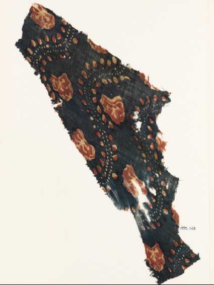 Textile fragment with flowers and dotsfront