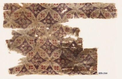 Textile fragment with linked circles and diamond-shapesfront