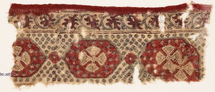 Textile fragment with linked medallions and flowersfront