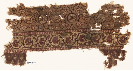 Textile fragment with flower-heads, tendrils, and vinefront