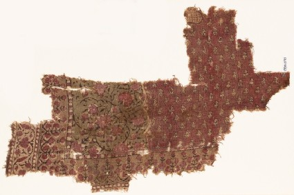 Textile fragment with flowers and tendrilsfront