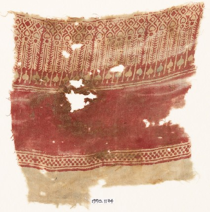 Textile fragment with bodhi leaves and possibly stylized treesfront
