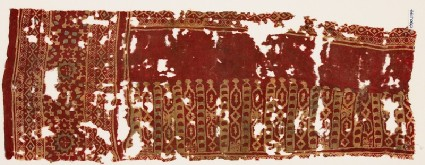 Textile fragment with linked hexagons and diamond-shapesfront