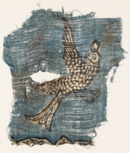 Textile fragment with flying birdfront