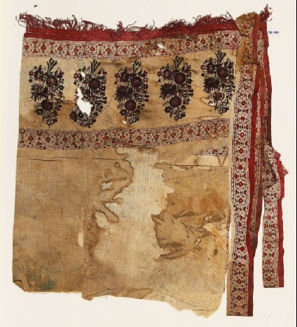 Textile fragment with flowers and vines, possibly from a pillow or sashfront