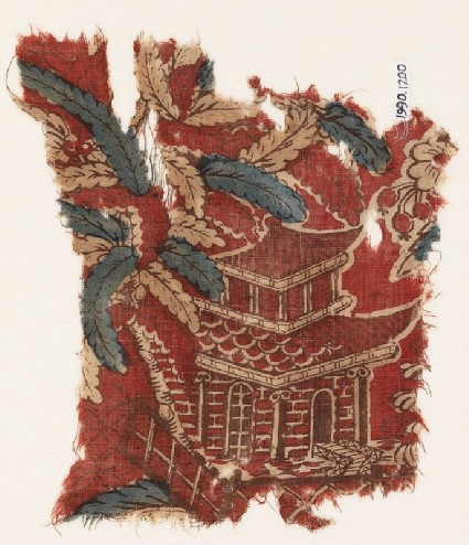 Textile fragment with chinoiserie pavilion, branches, and berriesfront
