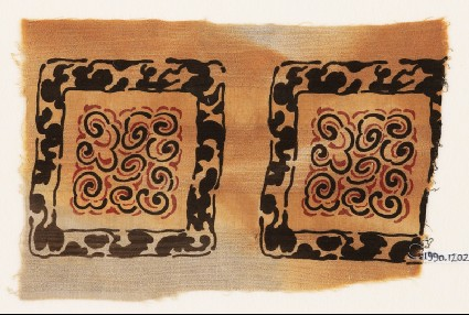 Textile fragment with square frames and scrollsfront