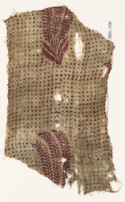 Textile fragment with plants and dotsfront