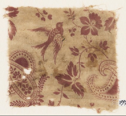 Textile fragment with bird, flowers, and butafront