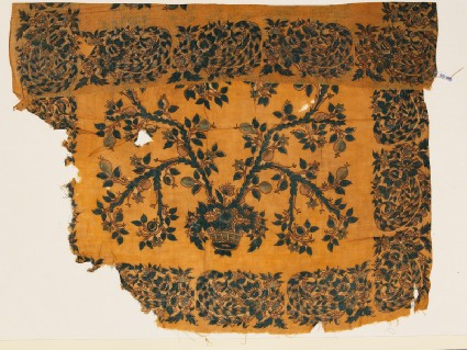 Textile fragment with basket and treefront