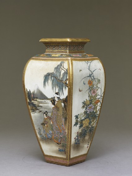 Kyo-Satsuma vase with figures, flowers, and landscape scenesside