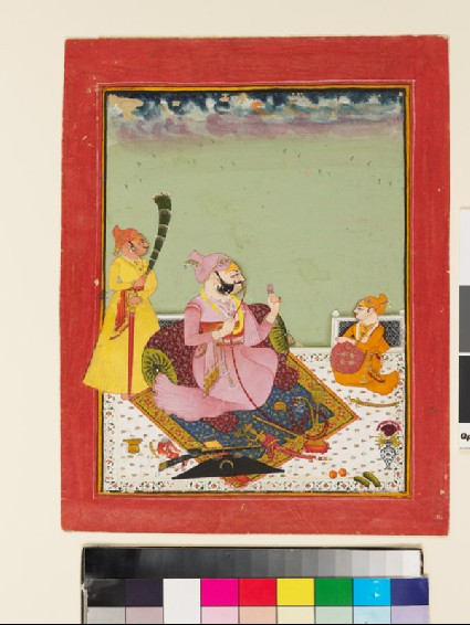 Maharao Ajit Singh on a terrace with son and attendantfront