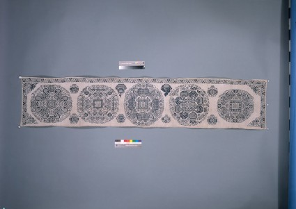 Valance with medallions, peonies, and fruitsfront