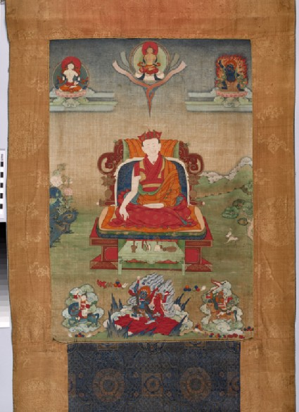 Enthroned red-crowned lama with the Buddha and deitiesfront