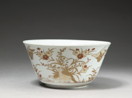 Bowl with partridges and flowersoblique
