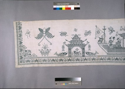 Valance with crows, lions, phoenixes, and dragon boatsfront, section
