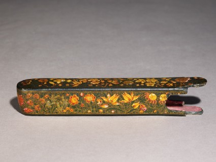 Case from a qalamdan, or pen box, with floral decorationoblique