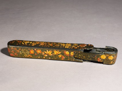 Qalamdan, or pen box, with floral decorationoblique