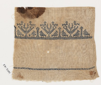 Textile fragment from a towel with stylized birdsfront