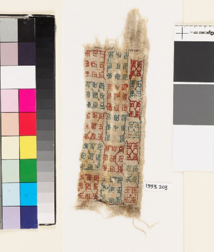 Textile fragment with squaresfront