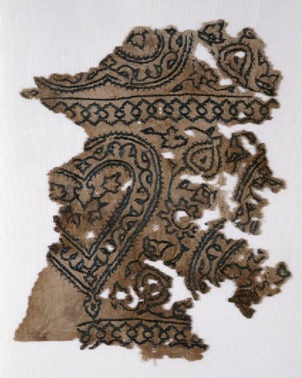 Textile fragment with heartsfront