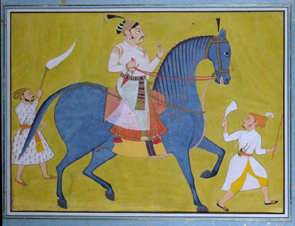Maharaja Pratap Singh of Sawar riding, with two attendants on footfront