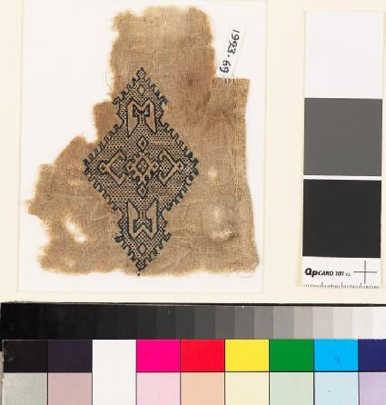 Textile fragment with lozenge-shaped medallionfront