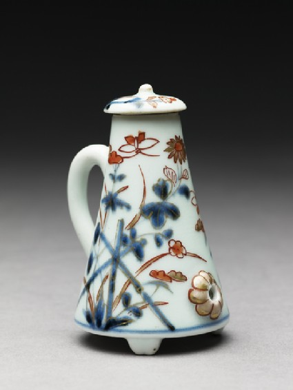 Miniature coffee pot with flowers and butterfliesside