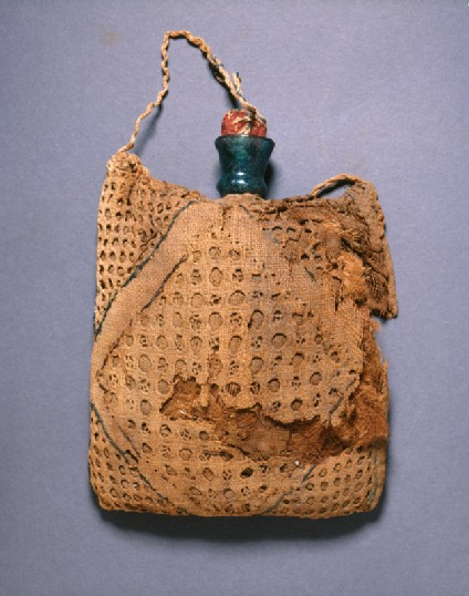 Pilgrim's flask in an embroidered linen bagfront